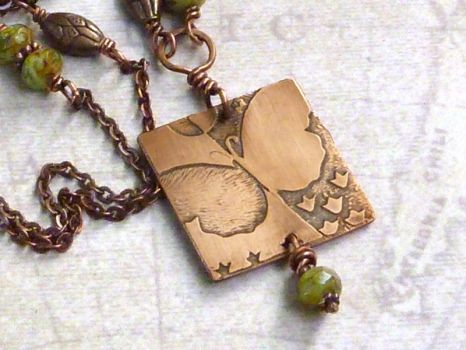 Butterfly Czech Glass Necklace by atwistofwhimsy