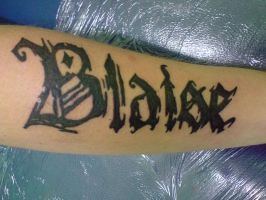 Blaise gothic font tattoo by Tristana-Gray