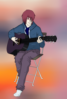 Akiro likes play in the guitar by kanon-12345