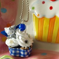 Hello Kitty Cupcake Necklace by AndyGlamasaurus