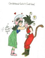 Chi-Chi and Goku's first kiss by hikari-chan1