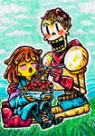 Commission: Frisk and Papyrus by Agui-chan