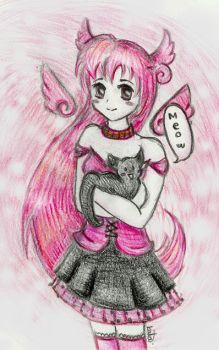 pink chibi wings by CakeF