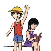 Robin and Luffy Chibis by straw-hat