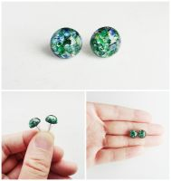 Green Opal Glass Cabochon Silver Stud Earrings by crystaland