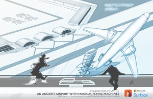 Ancient Airport With Magical Flying Machines-Drawt by AgentYiN