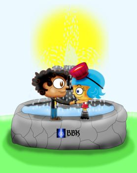 Manny and Frida on fountain by BB-K