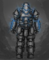 possessed power armor by NoodleArt