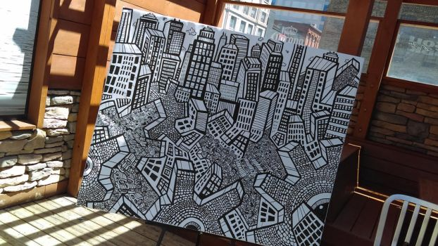 Cityscape Painting on the Patio by HEY-APATHY-COMICS