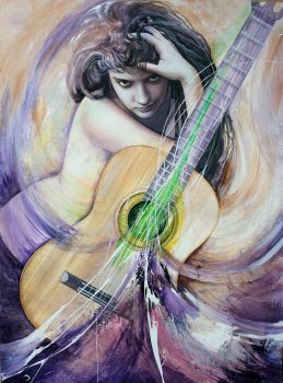 Guitar woman by Raipun
