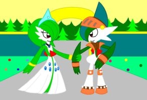 Lady Gardevoir and Sir Gallade by cmyneo
