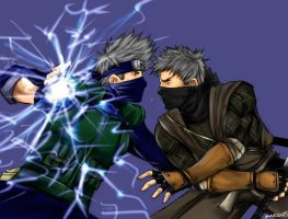 kakashi vs rikimaru colored by buuzen