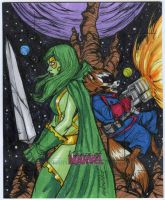 Gamora and Rocket Raccoon WOM AP commission by mdavidct