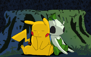 Commission: Pikachu and Celebi by K3RI1