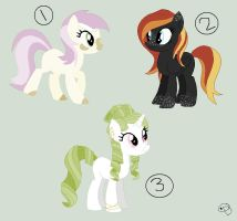 3 of a kind Pony adopts// OPEN// READ THE DESC. by Adrianne-Adopts