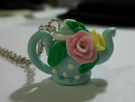 Miniature Polymer Clay Teapot Necklace by CraftMuse
