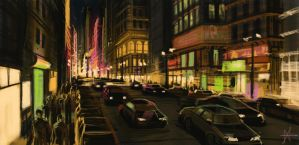 Night Street speed paint by mikemars