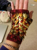 Scale Wristlets - Fire WIP by DarkGeminiLily