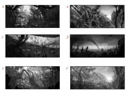 Composition Sketches for an Alien Landscape by Chenthooran