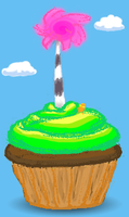 Truffula Tree Cupcake by Hnilmik