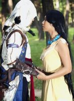 Connor Kenway and Pocahontas by KimMazyck