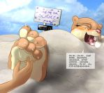 Sandy Cheeks tickled for science by tickleLabs