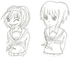 Haruhi Suzumiya and Yuki Nagato Tickled by Navel-HMO