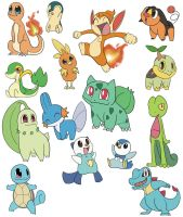 Starter Pokemon Coloured by kuromizuouji