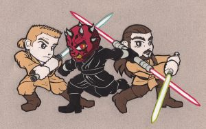 Qui Gon + Kenobi vs Darth Maul by NiceMugOfTea