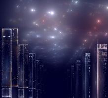 Skyline at Night by Cosmic-Cuttlefish