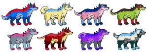 Dog adoptables 2 points (2/8 OPEN) by NightFever100