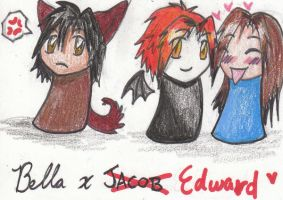 Chibi Jacob Edward and Bella by Wolf-Spirit14