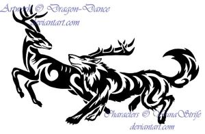 Tribal Running Wolf and Deer Commission by DansuDragon