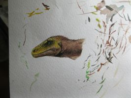 Just theropod head by Xiphactinus