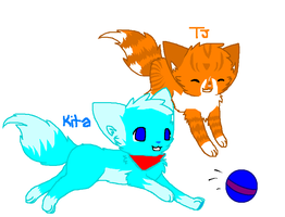 TJ and Kita playing by KatWolfKid