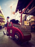 Kida and Saki Cosplay: Give me a ride!! by SNTP