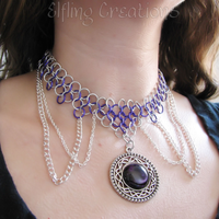 Purple and Silver Chainmaille Necklace by merigreenleaf