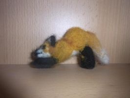 Needle felted stretching red fox plushie by ArcticIceWolf