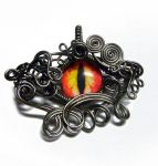 Gunmetal Wire Wrap Glass Dragon Eye Pendant by Create-A-Pendant
