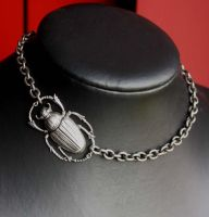 Asymmetrical Beetle Necklace by Pinkabsinthe