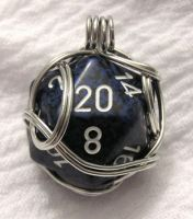 Blue Fancy Wrapped d20 by lavadragon