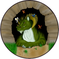 Dragon with butterflies-button by CrystalCircle