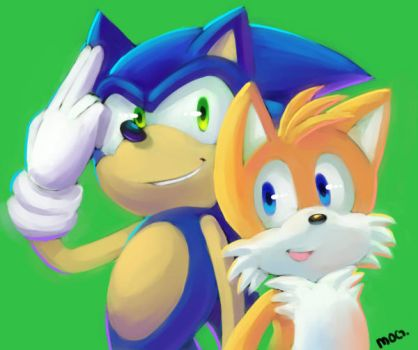 Speedpaint: Sonic and Tails by chickenoverlord