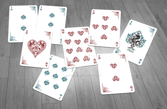 Sishou - Four Beasts Playing Card Faces by alvincheunghy