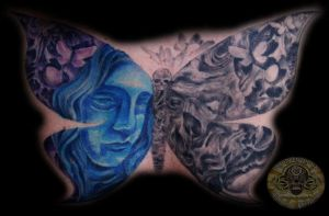 Butterfly Skull Faces Tattoo by 2Face-Tattoo