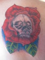 Skull rose tattoo by dannewsome