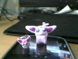 Espeon Chibi and cell charm by Mirera