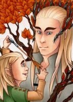 Card No. 51 - Legolas and Thranduil by NOOdElARtS