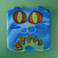 Fused Glass Cat Plate 2 by pipingplover