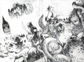ALIENS IN ENGLAND - wraparound cover by RONJOSEPH-ARTIST